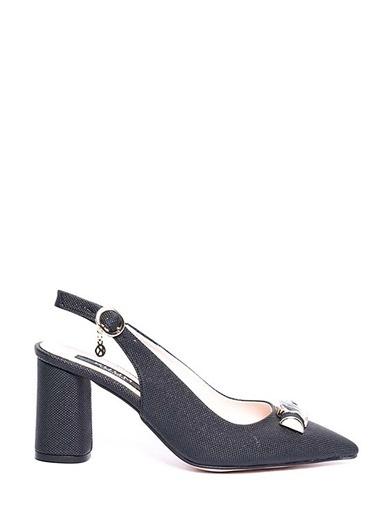Kuum Kalın Topuklu Sivri Burun Ayakkabı Siyah